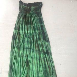 Strapless Green Maxi Dresss